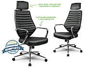 Кресло стул офисный кожаный Sofotel EG-225 черный, фото 4