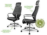 Кресло стул офисный кожаный Sofotel EG-225 черный, фото 5