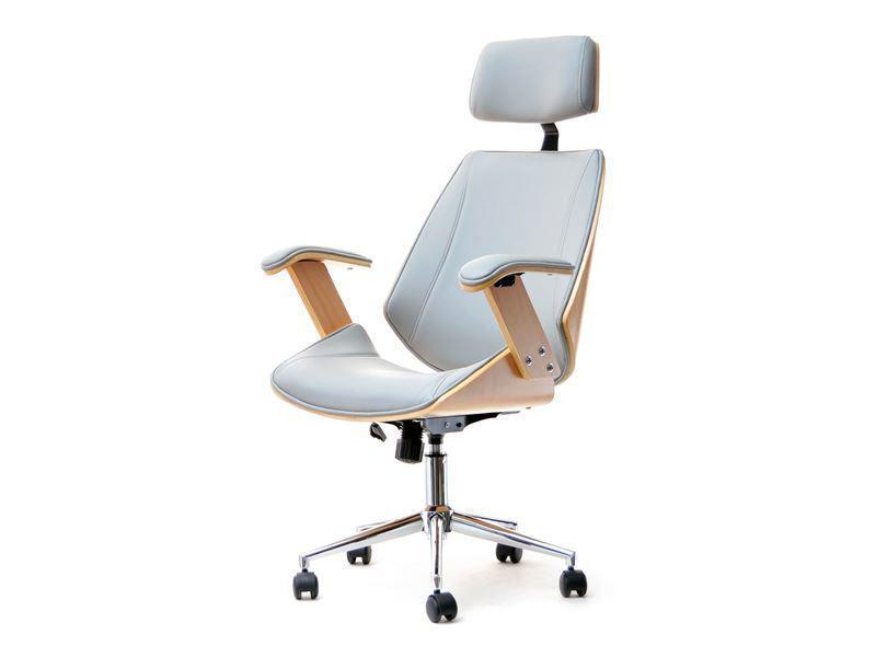 Кресло дизайнерское офисное деревянное FRANK BUKOWO SZARY