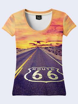 Женская футболка с принтом США дорога 66