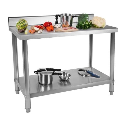 Рабочий стол - 120 х 70 см - 143 кг - нержавеющая сталь - громкие слова Royal Catering
