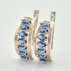 Серебряные серьги с золотом Луна размер 20х9 мм вставка синие фианиты вес 6.0 г
