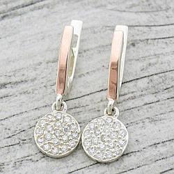 Серебряные серьги с золотом Лия размер 26х9 мм белые фианиты вес 3.5 г