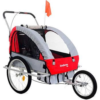 Прицеп велосипедный PR0103 2-местный (3 в 1) красная Kindereo Марка Европы