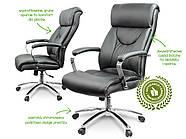 Кресло стул офисный кожаный Sofotel EG-224 черный, фото 5