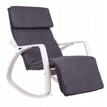 Кресло Качалка с подставкой деревянные крашеные полозья Серая Goodhome TXRC-02 WHITE Марка Европы
