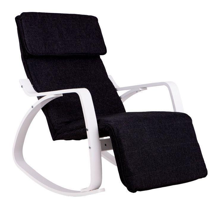 Кресло Качалка с подставкой деревянные крашеные полозья Черная Goodhome TXRC-03 WHITE