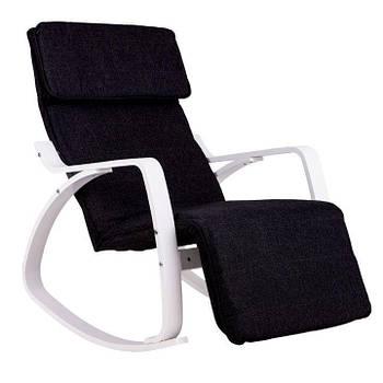 Кресло Качалка с подставкой деревянные крашеные полозья Черная Goodhome TXRC-03 WHITE Марка Европы