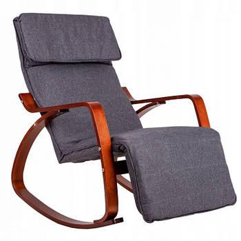 Кресло Качалка с подставкой деревянные лакерованые полозья орех Серая Goodhome TXRC-02 WALNUT Марка Европы