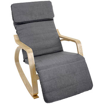 Кресло-качалка с подставкой для ног Vecotti Oscar темно-серый, лакированные полозья Марка Европы