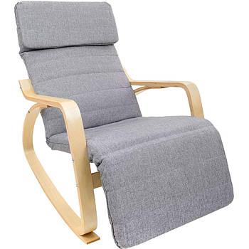 Кресло-качалка с подставкой для ног Vecotti Oscar серое, лакированные полозья Марка Европы