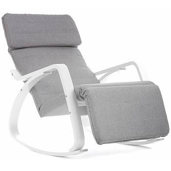 Кресло-качалка с подставкой для ног Vecotti Oscar серое, белые полозья Марка Европы