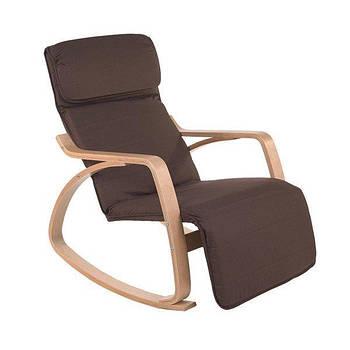 Кресло качалка LUSSO с подножкой Коричневое пользья дерево Марка Европы