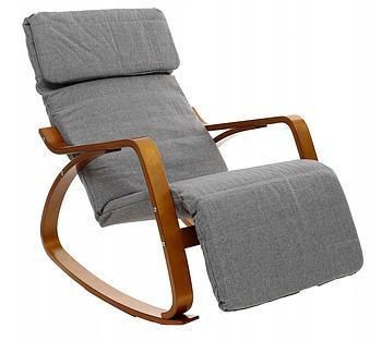 Кресло-качалка с подставкой для ног Luca серое, полозья коричневый лак Марка Европы
