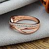 Кольцо Xuping 14309 размер 20 ширина 7 мм белые фианиты вес 2.4 г позолото РО, фото 3