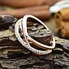 Кольцо Xuping 14309 размер 20 ширина 7 мм белые фианиты вес 2.4 г позолото РО, фото 4