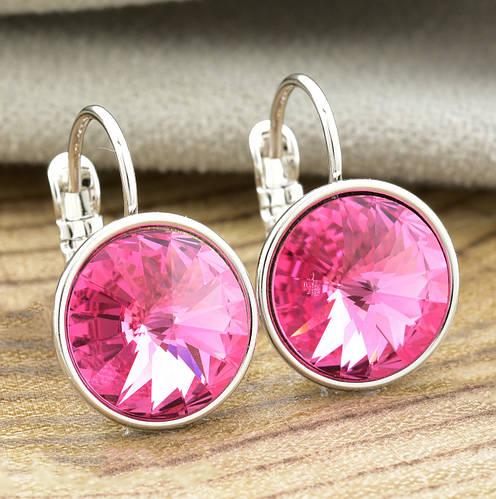 Серьги Xuping с кристаллами Swarovski 21403 размер 20х12 мм цвет розовый позолота Белое Золото