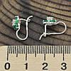 Серебряные серьги Кокетка размер 13х7 мм вставка зеленые фианиты вес 1.65 г, фото 3
