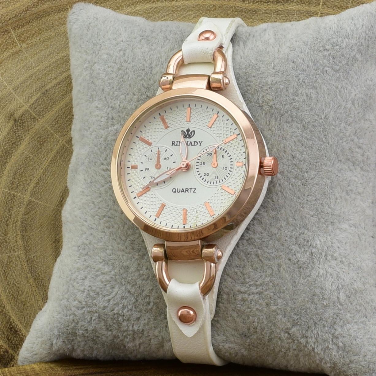 Часы G085расп пятна диаметр циферблата 3.2 см длина ремешка 16-20 см белый цвет позолота РО
