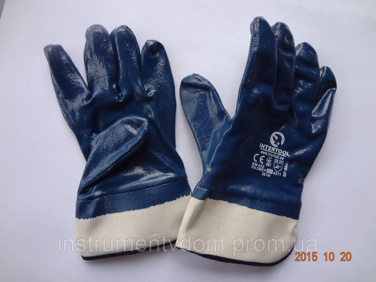 Перчатки синие трикотажные маслостойкие с нитриловым покрытием INTERTOOL  (упаковка 12 пар)