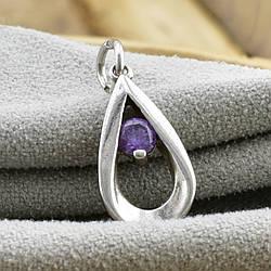Серебряный кулон Бал размер 26х10 мм вставка фиолетовый фианит вес 1.76 г
