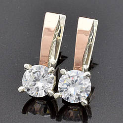 Серебряные серьги с золотом Яна размер 22х8 мм вставка белые фианиты вес 3.9 г