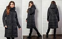 Женская теплая удлиненная зимняя куртка с капюшоном (синтепон 300), фото 3