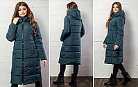 Женская теплая удлиненная зимняя куртка с капюшоном (синтепон 300), фото 5
