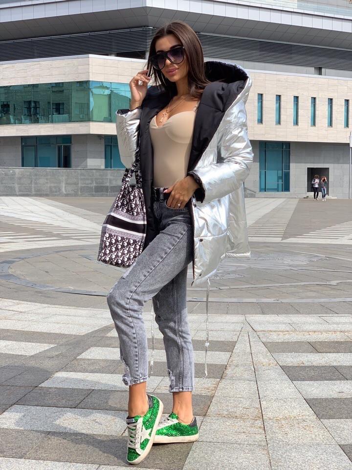 Женская зимняя двухсторонняя куртка на силиконе