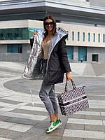 Женская зимняя двухсторонняя куртка на силиконе, фото 5