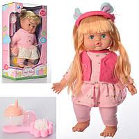 Лялька DH2223A-B м'яконабивний, пляшечка, гребінець, 2види, муз., бат.(таб.), кор., 24-41-13,5см.