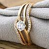 Кольцо Xuping 13941 размер 19 ширина 8 мм вес 3.3 г белые фианиты позолота 18К, фото 4