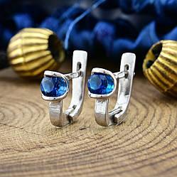 Серебряные серьги Ассоль размер 9х4 мм вставка синие фианиты вес 1.9 г