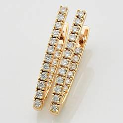 Серьги Xuping  Алмазные стрелки большие 25828 размер 30х2 мм вес 6.0 г белые фианиты позолота 18К