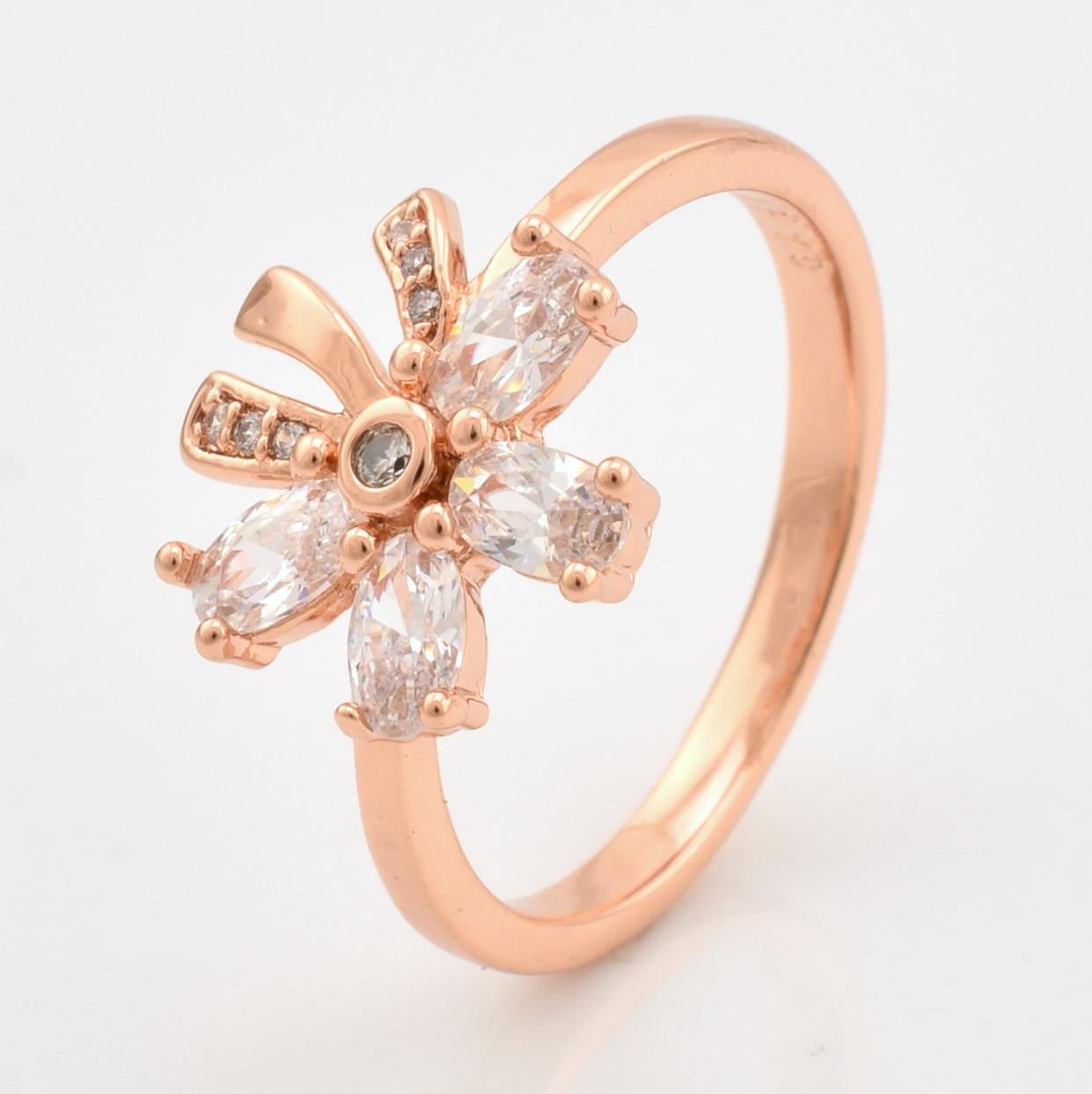 Кольцо Xuping 10378 размер 18 белые фианиты позолота РО
