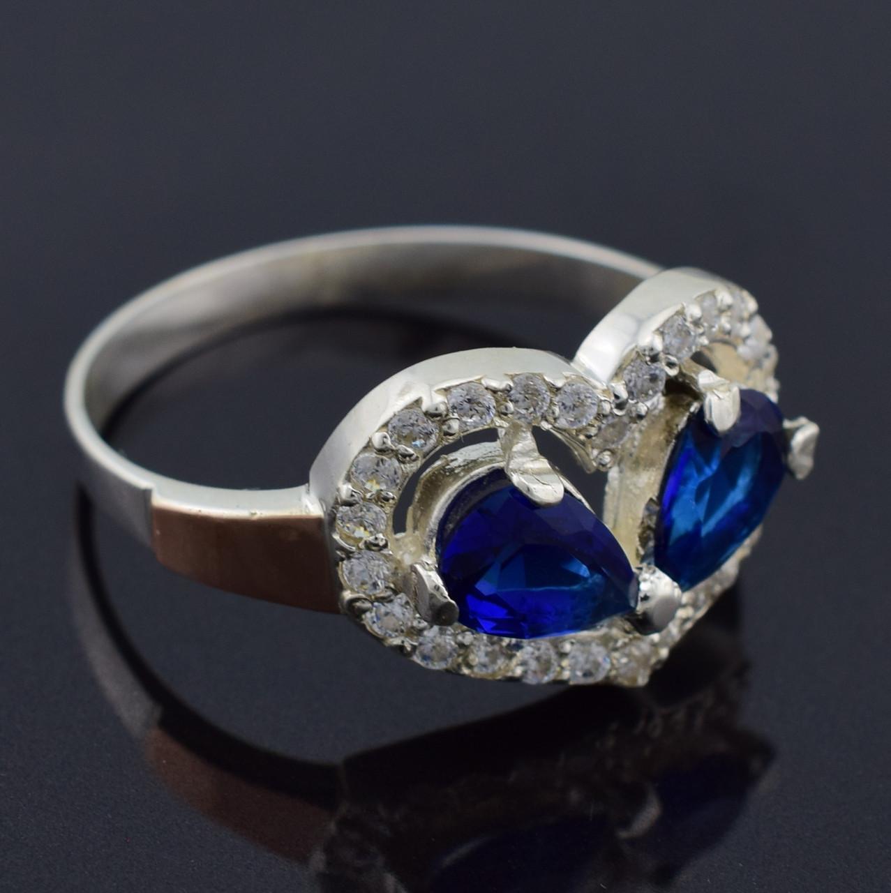 """Серебряное кольцо """"Любовь"""", синие фианиты, вес 3.9 г, размер 19"""