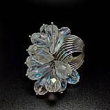 Необычное кольцо с прозрачными кристаллами, фото 2