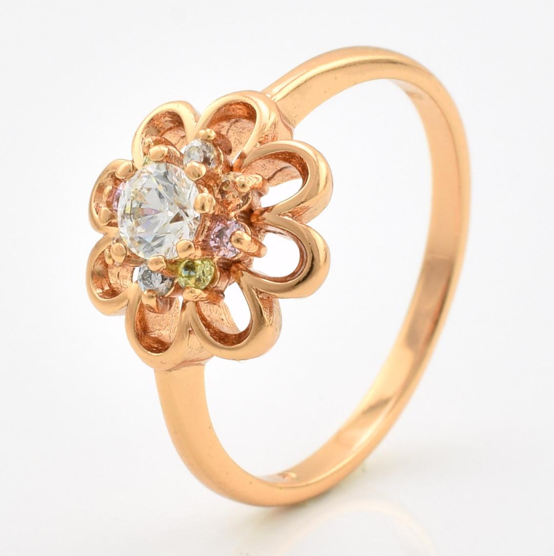 Кольцо Xuping 10559 размер 16 разноцветные фианиты позолота РО