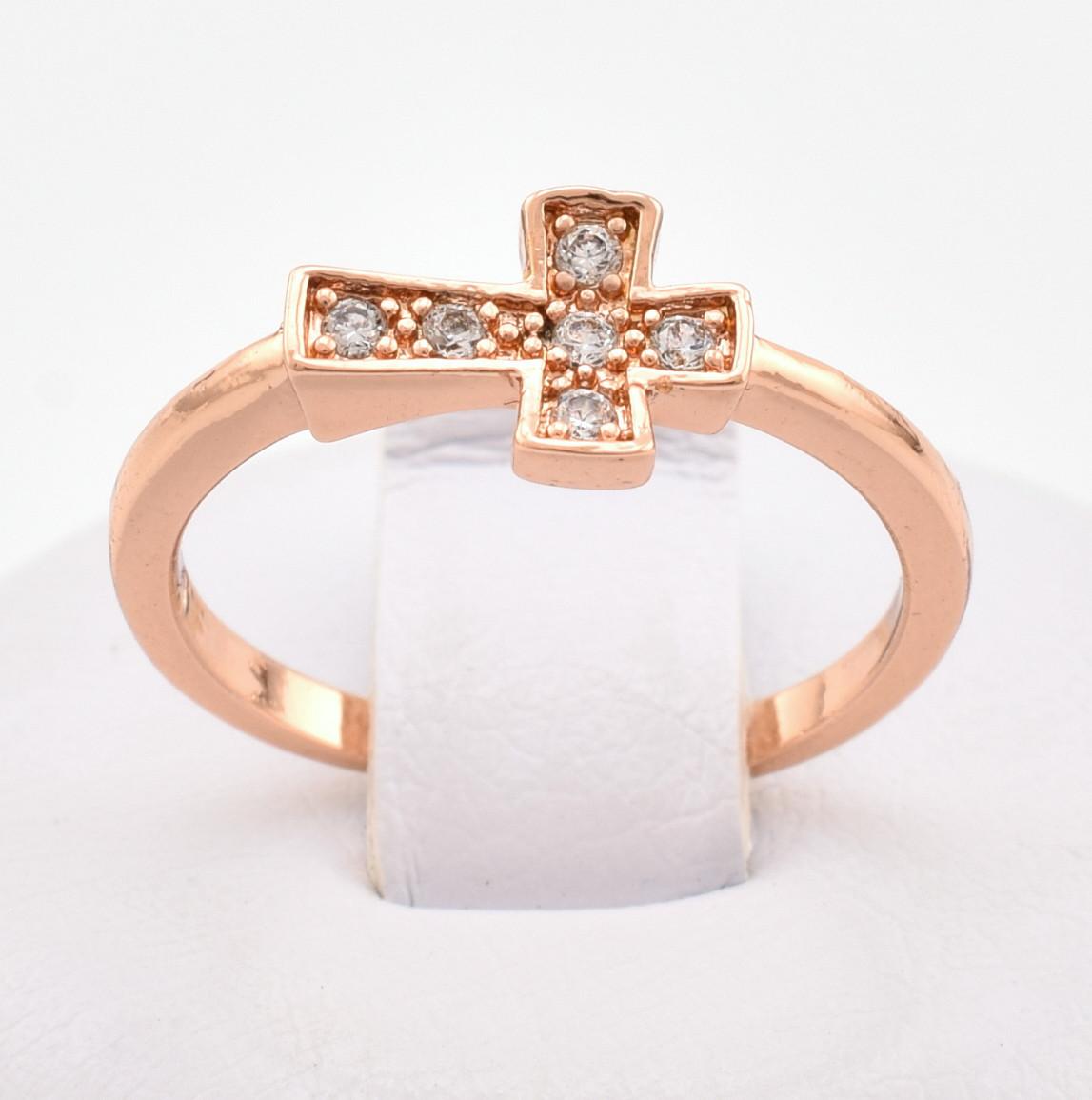 Кольцо Xuping 10624 размер 16 белые фианиты позолота РО