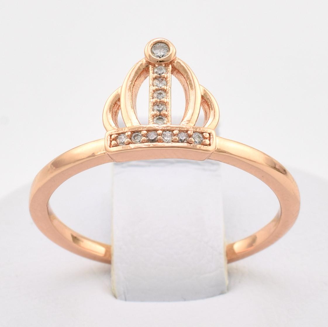 Кольцо Xuping Корона 10704 размер 18 белые фианиты позолота РО