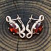 Серьги Xuping 20902РО размер 22х8 мм красные фианиты позолота РО, фото 2