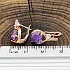 Серьги Xuping Надежда 20802РО размер 16х9 мм фиолетовые фианиты позолота РО, фото 2