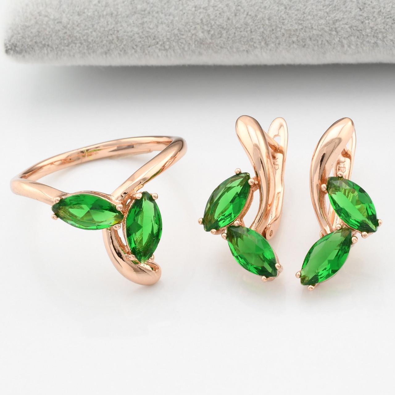 Набор Xuping R54 кольцо размер 17 + серьги 20х10 мм зелёные фианиты позолота РО