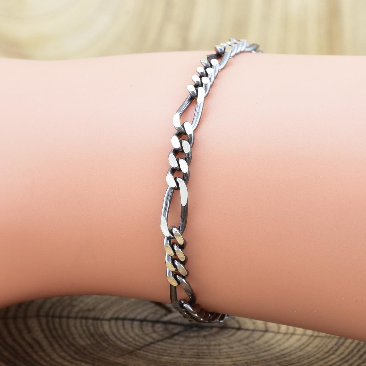 """Серебряный браслет с чернением """"Фигаро"""", длина 21 см, ширина 3.5 мм, вес серебра 5.1 г"""