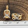 Серьги Xuping 2158818К размер 14х9 мм белые фианиты позолота 18К, фото 3