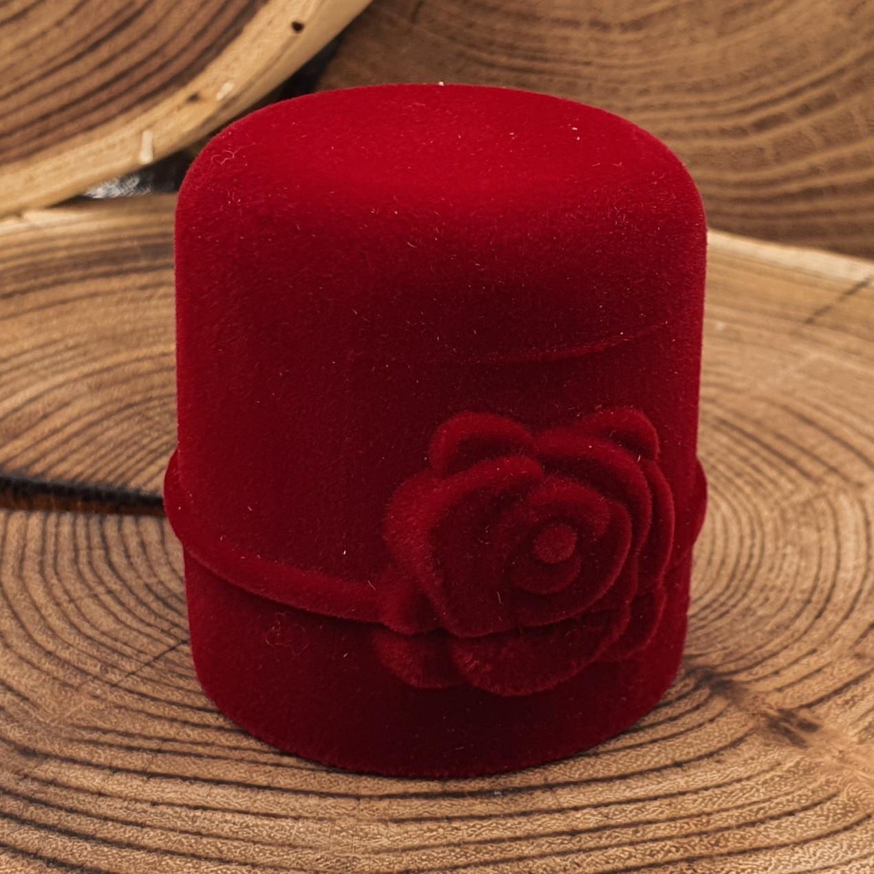 Футляр для колец-серег 740145 бордовый бархат размер  5*4,5 см