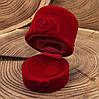 Футляр для колец-серег 740145 бордовый бархат размер  5*4,5 см, фото 3