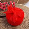 Футляр под два кольца Круг с бантом 740151 красный бархат размер 7х4.5 см, фото 2