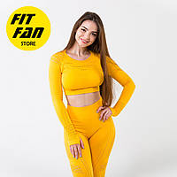 Спортивный костюм женский для фитнеса бега йоги Fit Fan Yellow