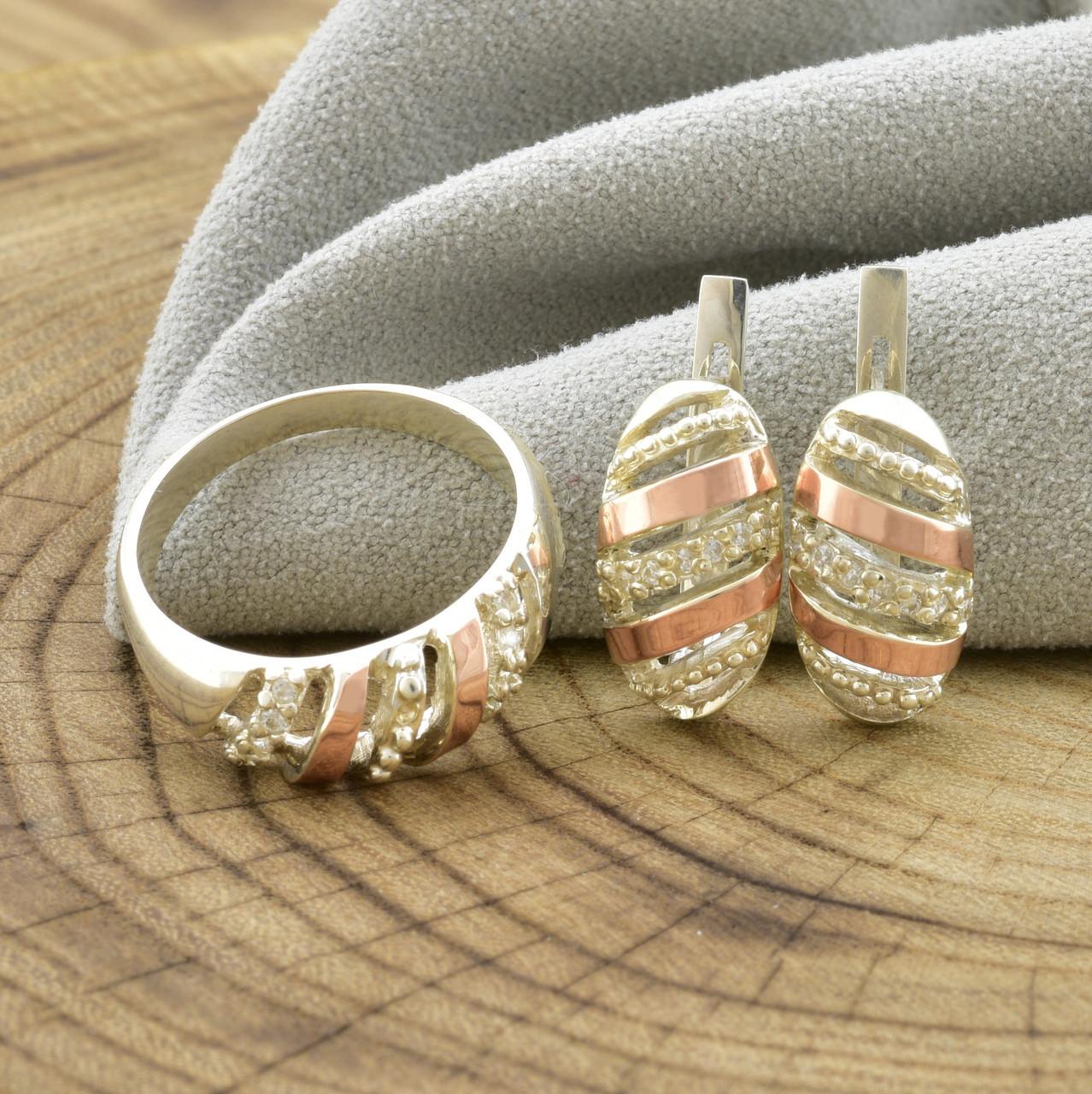 Серебряный набор с золотом Мая кольцо размер 18 + серьги 17х9 мм вставка белые фианиты
